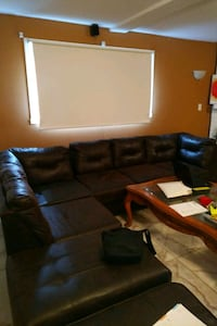 black and brown leather sectional sofa Laval, H7S 2N5