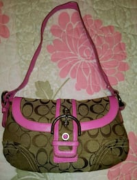 brown and pink Coach monogram crossbody bag Rosamond, 93560