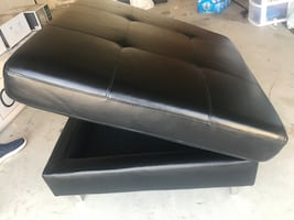 Ottoman with storage - black faux leather...see matching couch