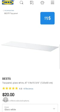 Ikea top panel/ glass