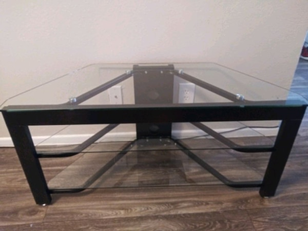 (Or best offer) 3 Level Glass & Oak TV Stand cd30334d-eec8-4761-af6f-97d322fe3260