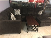 brown suede sectional couch with ottoman 1206 mi