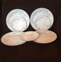 Set of Corelle Floral Pink Trio Dinner & Salad Plates 24 km