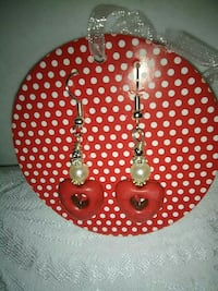 red-and-white heart hook earrings Inverness