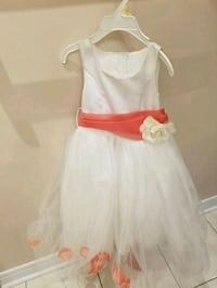 White and coral flower girl dresses