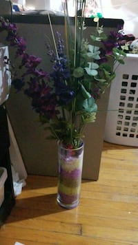 Glass vase with fake flowers and stones Newmarket