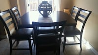 rectangular brown wooden table with six chairs dining set Hamilton, L8E 5Y7