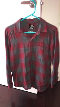 Red and black plaid button up long sleeve shirt
