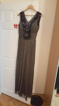 brown and black v-neck tank long dress
