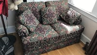 Green and brown floral 2-seat sofa and three throw pillows Union, 07083