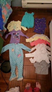 18mo Carter's footed PJs, shirts, long sleeved onsie, romper,  shorts