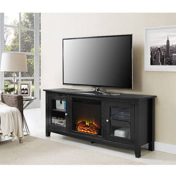 Used Wood Tv Stand With Fireplace For Tvs Up To 60 Black Sku