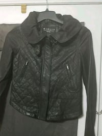 Trendy black leather zip-up jacket Reston, 20190