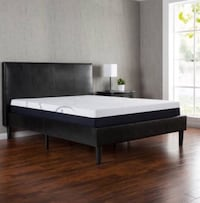 Full size brown faux leather bed frame only- As is