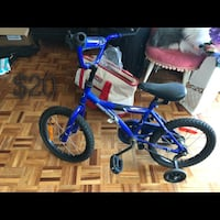 toddler's blue and black bicycle with training wheels Mississauga, L4Y 4E2