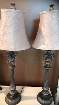 two white-and-blue table lamps Brick, 08723