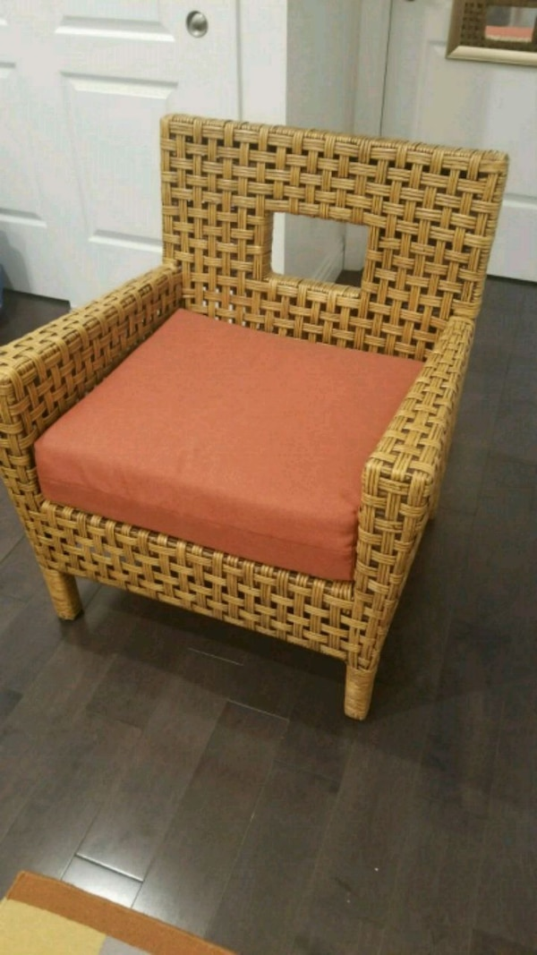 Used Crate Barrel Wicker Armchair With Cushion For Sale In New