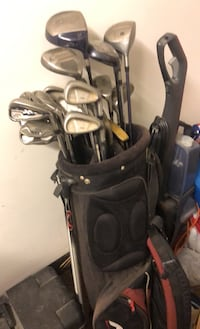 Assorted golf clubs and bag Moore, 73160