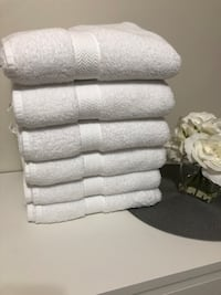 Towels and shower curtain