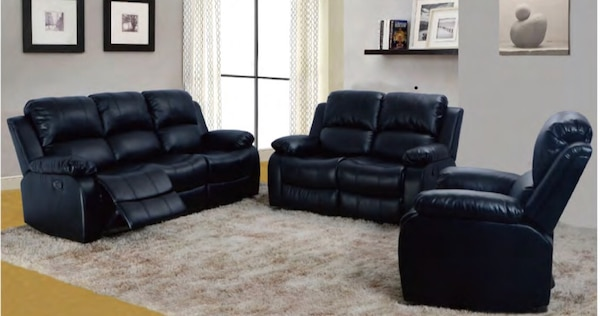 Terrific Black Bonded Leather Sofa Loveseat Chair Andrewgaddart Wooden Chair Designs For Living Room Andrewgaddartcom