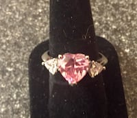 heart-cut pink gemstone and diamond three-stone silver-colored ring San Antonio, 78258