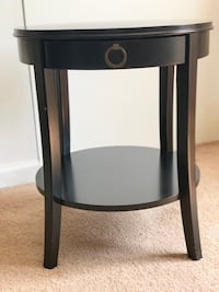 Black wood side table ,with drawer 17 inches wide 21 inches high
