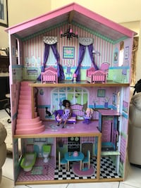 Used Kidkraft Wooden Dollhouse With Elevator And Props Included