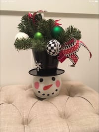 Christmas decor. Metal snowman face in top hat from Michael's EUC