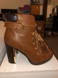 Pair of brown chunky heels size 10.5