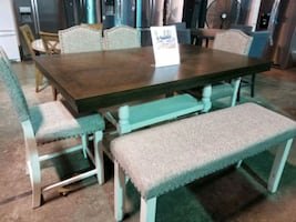 Dining table and chairs with bench