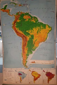 6ft tall 1962 NYSTROM & CO South America pull down school map