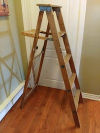 brown wooden a-frame ladder Châteauguay, J6K 1G5