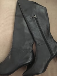 Black real leather zip-up boots Louisville