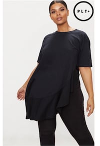 Plus Black Frill Detailed Oversized T-Shirt Long Beach, 90805