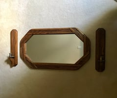 Wood Mirror and candle holders