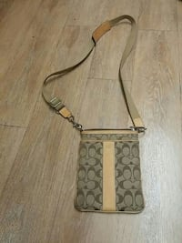 gray and brown Coach sling bag
