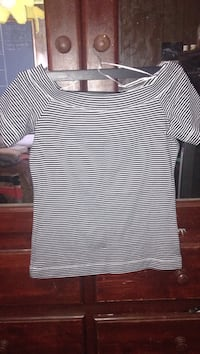White and navy blue stripe t-shirt
