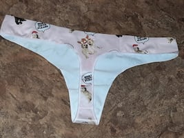 NEW super soft Victoria Secret PUPPY CHRISTMAS THONG pink in color NEW