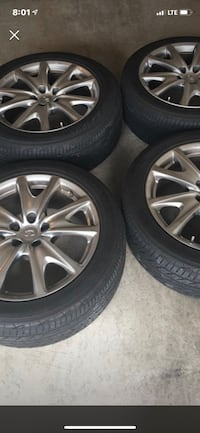 Infiniti G37 wheels and tires mint condition multi-spoke car wheel with tire set Lorton, 22079