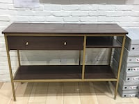 Stained oak laminate tv stand with gold finish Calgary, T2J