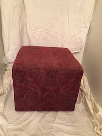 Red Tweed Upholstered Ottoman ORLANDO
