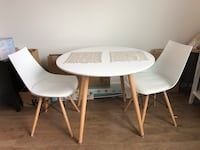 Mid Century white table with two upholstered matching chairs Capitol Heights, 20743