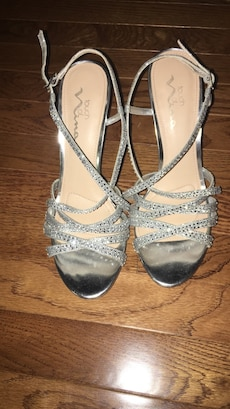 Women's gray open toe ankle strap heels, worn once and still in great condition