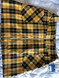 yellow & black plaid skirt.