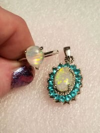 New 925 silver white opal and blue topaz necklace  West Valley City, 84120