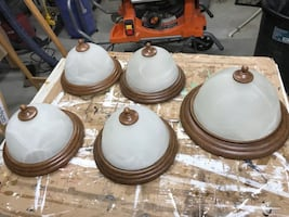 Set of Bronze Dome Flush Mount light with Matching Dome Pendant
