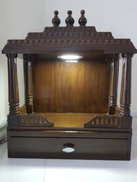 Home Hindu Wooden Temple with lighting, shelf and drawer with option to hang on wall null
