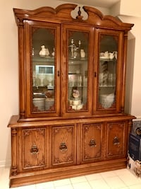 Brown wooden china buffet hutch and two dressers $800.00 the 3 pieces or b.o. on individual items  Vaughan
