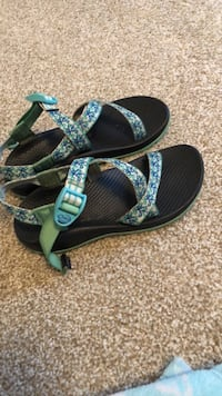 Pair of black-and-green chacos