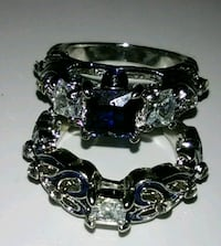 2&1 Blue Sapphire and Diamond Ring Wedding Bands Fayetteville, 28306